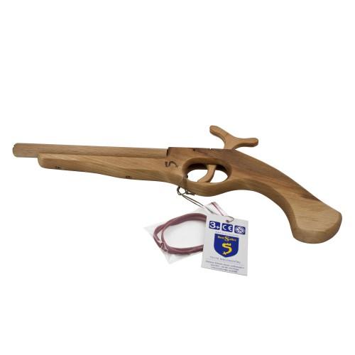 SpielkUche Holz Mit Funktion ~ Piraten Pistole aus Holz mit Funktion (schießt Gummis) von BestSaller