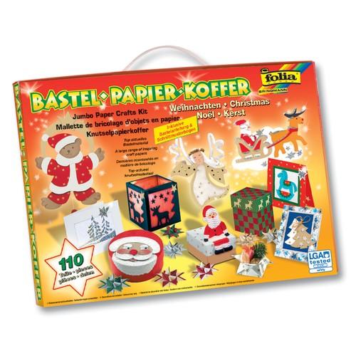 Folia bastel papier koffer weihnachten 110 teiliges for Bastelset weihnachten