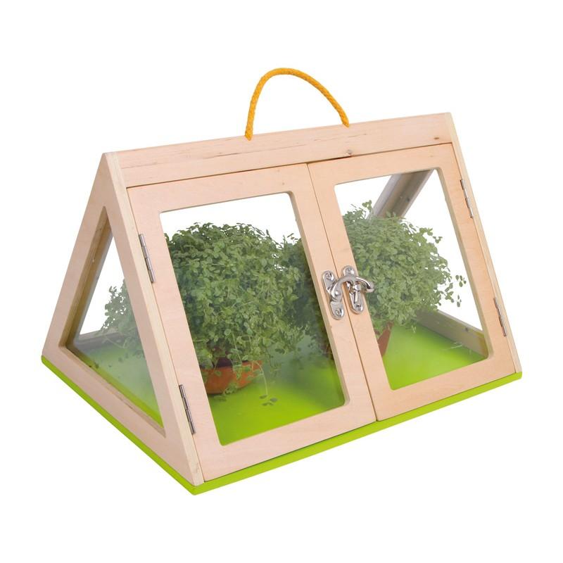 gew chshaus pyramide aus holz mit plexiglas ebay. Black Bedroom Furniture Sets. Home Design Ideas