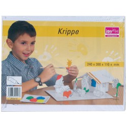 JoyPac White Line Karton-Weihnachtskrippe zum Aufbauen und Bemalen