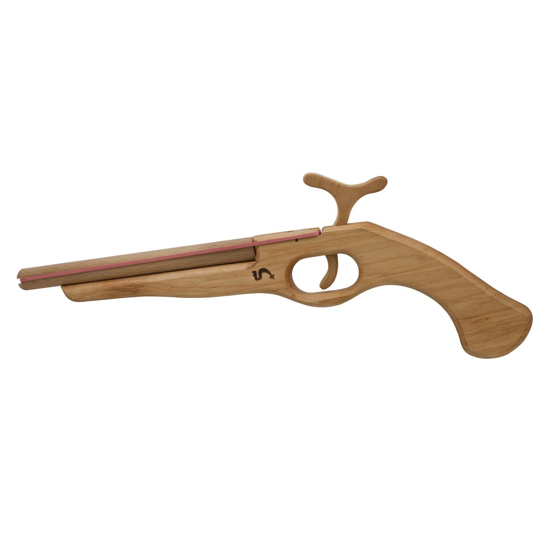 KinderkUche Holz Mit Funktion ~ Piraten Pistole aus Holz mit Funktion (schießt Gummis) von BestSaller