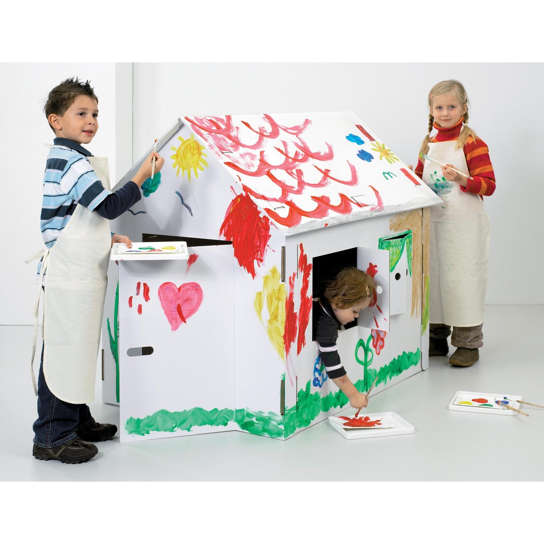 white line karton spielhaus xxl zum aufbauen und bemalen von joypac g nstig bei mariposa toys kaufen. Black Bedroom Furniture Sets. Home Design Ideas