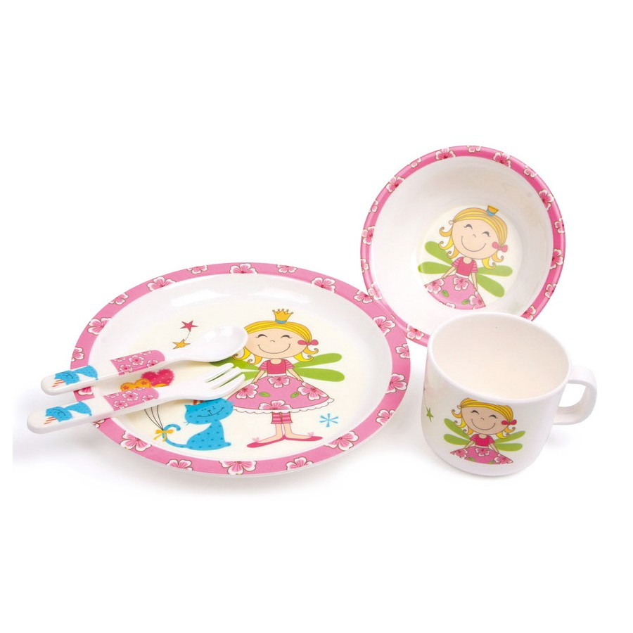 kindergeschirr set prinzessin aus melamin 5 teilig von small foot g nstig bei mariposa toys kaufen. Black Bedroom Furniture Sets. Home Design Ideas