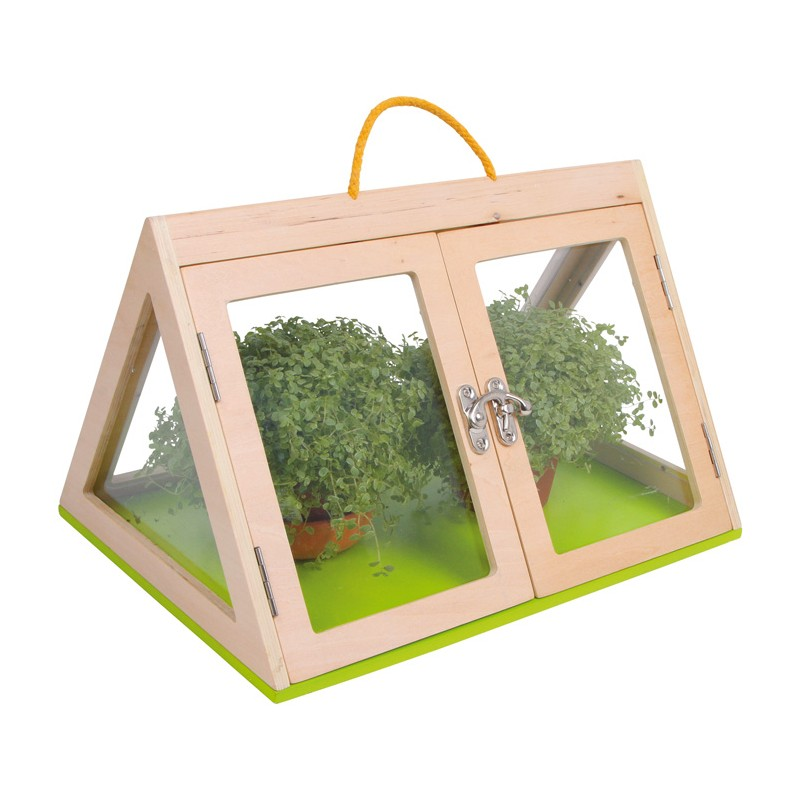 gew chshaus pyramide aus holz mit plexiglas von small foot design g nstig bei mariposa toys kaufen. Black Bedroom Furniture Sets. Home Design Ideas